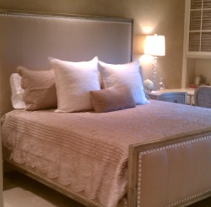 Upholstered Bed Frame With Custom Bedding