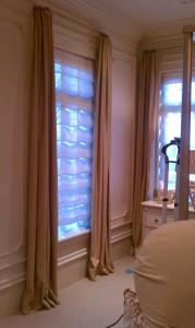 Working Blackout Draperies With Hobbled Sheer Roman Shades