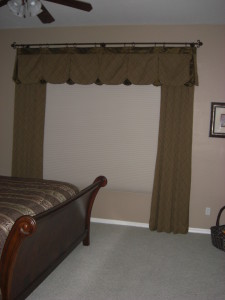 Decorative Custom Rods with valance and side panels With Blackout Honeycomb Shade