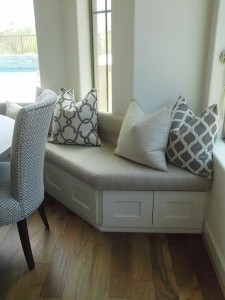 Built-in bench with custom upholstery and pillows